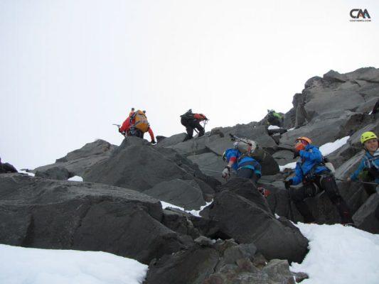Cățărare spre l'Aiguille du Gouter, Mont Blanc